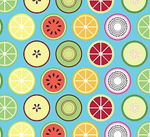 Funky Fruit Pattern Postcard by ImpyImp