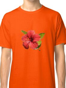 A Red Hibiscus Flower Isolated On White Background  Classic T-Shirt