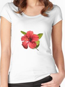 A Red Hibiscus Flower Isolated On White Background  Women's Fitted Scoop T-Shirt