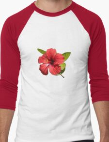 A Red Hibiscus Flower Isolated On White Background  Men's Baseball ¾ T-Shirt