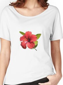 A Red Hibiscus Flower Isolated On White Background  Women's Relaxed Fit T-Shirt