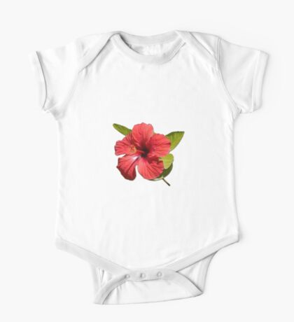 A Red Hibiscus Flower Isolated On White Background  One Piece - Short Sleeve
