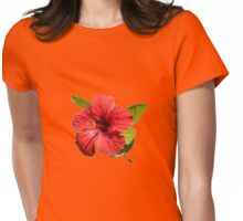 A Red Hibiscus Flower Isolated On White Background  Womens Fitted T-Shirt