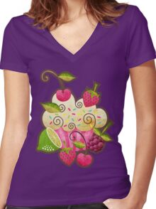 Tutti Frutti Cupcake Women's Fitted V-Neck T-Shirt