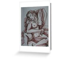 Seduction of the Female Nude (Drawing)- Greeting Card