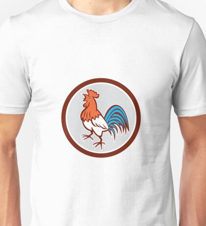 Chicken Rooster Crowing Looking Up Circle Retro Unisex T-Shirt