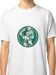 Rugby Player Running Attacking Circle Retro Classic T-Shirt