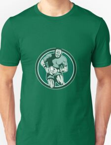 Rugby Player Running Attacking Circle Retro Unisex T-Shirt