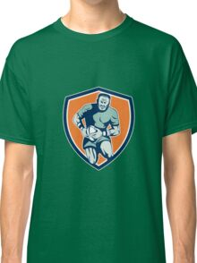 Rugby Player Running Attacking Shield Retro Classic T-Shirt