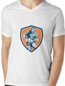 Rugby Player Running Attacking Shield Retro Mens V-Neck T-Shirt