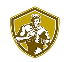 Rugby Player Running Fending Shield Retro by patrimonio