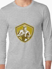 Rugby Player Running Fending Shield Retro Long Sleeve T-Shirt