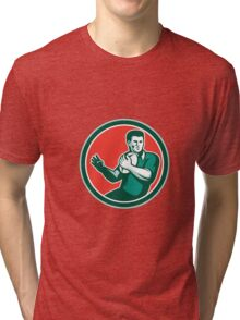 Rugby Player Ball Hand Out Circle Retro Tri-blend T-Shirt