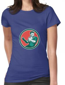 Rugby Player Ball Hand Out Circle Retro Womens Fitted T-Shirt