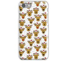 reindeer in Santa Claus hats seamless pattern on white iPhone Case/Skin