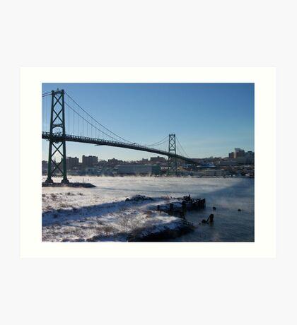 Halifax Bridge Span when it's cold outside Art Print