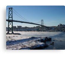 Halifax Bridge Span when it's cold outside Canvas Print