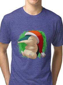 Pokemon Christmas Santa Cyndaquil Tri-blend T-Shirt