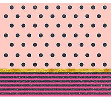 Shiny Black Polka Dots and Stripes on Pink Photographic Print