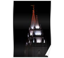 Salt Lake Temple - East Spires at Night Poster