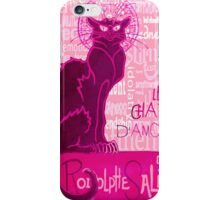 Le Chat D'Amour In Pink With Words of Love iPhone Case/Skin