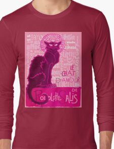 Le Chat D'Amour In Pink With Words of Love T-Shirt