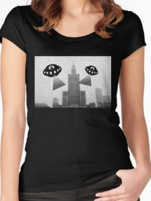Aliens attack Warsaw Women's Fitted Scoop T-Shirt