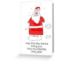 Santa in the sky Greeting Card
