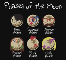 Phases of the Moon (white design) Kids Clothes