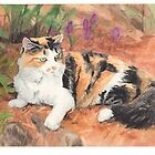 Calico cat in garden watercolor by Mike Theuer