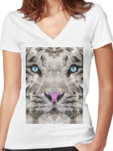 abstract white tiger Women's Fitted V-Neck T-Shirt