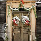 Colonial Christmas Door by Debbra Obertanec