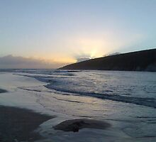 Crantock Beach at Dusk, Newquay Cornwall by Mark  Florey