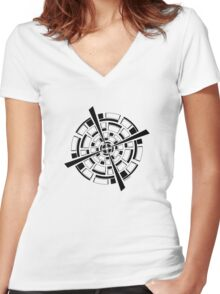 Mandala 26 Back In Black Women's Fitted V-Neck T-Shirt