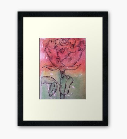Coloured Rose Framed Print