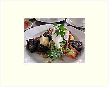 Black pudding salad with poached egg. by Margaret Hockney