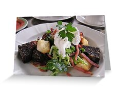 Black pudding salad with poached egg. Greeting Card