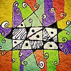 Multicolored Tribal Print Abstract Art by DFLC Prints