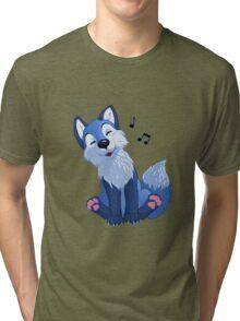 Blue singing, swinging foxy Tri-blend T-Shirt