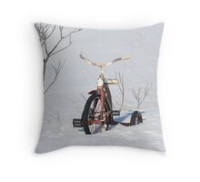 Children bike in the snow Throw Pillow