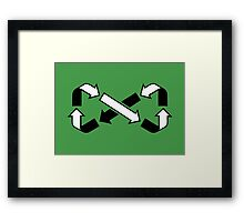 Mobius Says Recycle (Black design) Framed Print