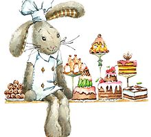 rabbit sweet baker. illustration, watercolor, by Dobrynina Alena