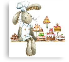 rabbit sweet baker. illustration, watercolor, Canvas Print
