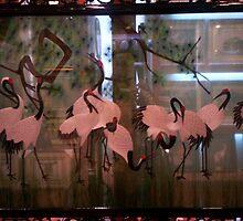 See Through silk embroidery  Cranes by cometkatt