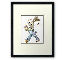 rabbit sweet baker. illustration, watercolor, Framed Print