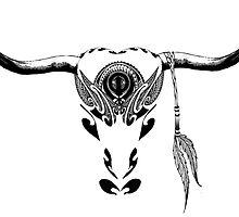 Tribal Buffalo Bull Skull by wildwildwest
