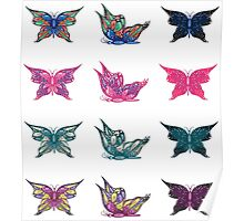 Colored butterflies 3 Poster