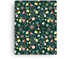 pattern of flowers and birds Canvas Print