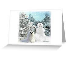 Snowdrop the Maltese & The Snowman Greeting Card