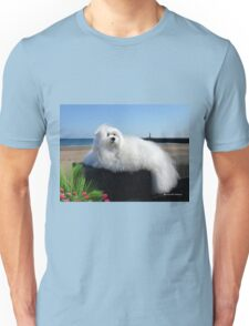 Snowdrop the Maltese - Beside the Seaside Unisex T-Shirt